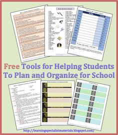 Learning Specialist and Teacher Materials - Good Sensory Learning: Free Tools for Helping Students to Plan and Organize for School School Ot, School Social Work, Middle School, School Stuff, High School, School Hacks, School Ideas, Classroom Behavior, School Classroom