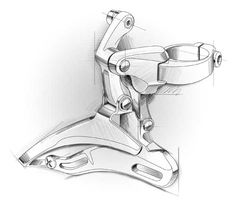 Exploded illustration of a front gear changer #id #industrial #design #product #sketch