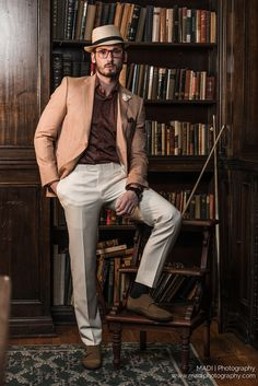 Warm Gold Beige Blouser with white trousers and simple fedora. In Scarzza's olive Monkstrap footwear  Model: Keegan