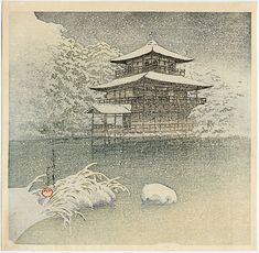 """""""Evening Snow at the Golden Pavilion (Kyoto)"""" by Hasui, Kawase"""