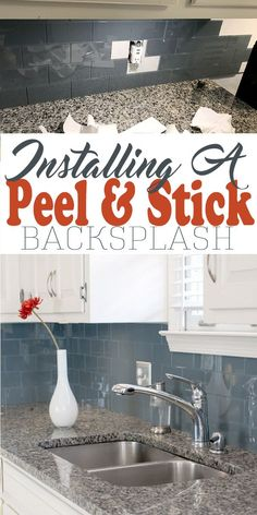 Installing a peel and stick backsplash in your kitchen with glass tiles in a subway pattern. It makes a beautifully modern look to the kitchen. backsplash Installing Peel and Stick Backsplash for an Easy Kitchen Upgrade Kitchen Backsplash Peel And Stick, Easy Backsplash, Peel And Stick Tile, Stick Tiles, Hexagon Backsplash, Stainless Backsplash, Glass Tile Backsplash, Beadboard Backsplash, Herringbone Backsplash