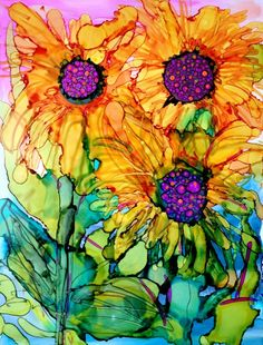 """Sunflowers 5"" original fine art by Kristen Dukat"