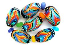 Rainbow Lampwork handmade black red blue green 6 oval by MichalS, $140.00