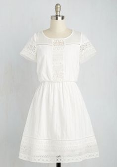 Cutie on Duty Dress - White, Solid, Eyelet, Casual, A-line, Short Sleeves, Spring, Woven, Better, Mid-length, Cotton, Work