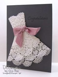 44 Ideas For Creative Bridal Shower Gifts Dress Card Paper Doily Crafts, Doilies Crafts, Paper Doilies, Paper Crafts Wedding, Wedding Wishes, Wedding Cards, Diy Wedding, Wedding Invitations, Shower Invitations