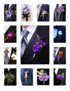 really cool idea. Use the different assorted flowers in bride and bridesmaid bouquets for groom and groomsmen boutonnieres Purple Wedding Flowers, Wedding Colors, Wedding Bouquets, Wedding Buttonholes, Wedding Corsages, Purple Boutonniere, Boutonnieres, Wedding Boutonniere, Wedding Bells