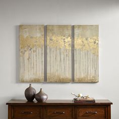 Madison Park Sandy Forest Taupe Gel Coat Canvas with Gold Foil Embellishment 3-piece Set - 18889586 - Overstock - The Best Prices on Madison Park Gallery Wrapped Canvas - Mobile