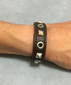 Brown studded bracelet cuff wristband by ChristyKeysCreations