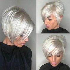 High-Shine Sleek Silver Pixie Bob - 100 Mind-Blowing Short Hairstyles for Fine Hair - The Trending Hairstyle - Page 32 Short Thin Hair, Short Hair With Layers, Short Hair Cuts, Short Hair Styles, Straight Hair, Silver Hair Styles, Platinum Blonde Bobs, Platinum Hair, Silver Blonde