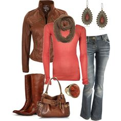 """""""Coral and Leather"""" by smores1165 on Polyvore"""