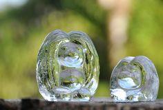 Bergdala Trolls. Scandinavian Art Glass Troll Figurines. - A pair of Vintage Paperweights by Peter Johansson