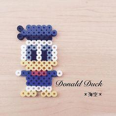 Donald Duck perler beads by Melty Bead Patterns, Pearler Bead Patterns, Perler Patterns, Beading Patterns, Hama Beads Disney, Perler Bead Disney, Perler Bead Templates, Diy Perler Beads, Pearl Beads Pattern