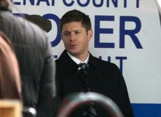 """Supernatural"" actors Jared Padalecki and Jensen Ackles kept warm with a cup of coffee as they strolled around the set of their show on a snowy day in Vancouver, British Columbia, Canada on January 16, 2012. Jenson enjoyed blowing bubbles as he work on the multi-storey car park set."