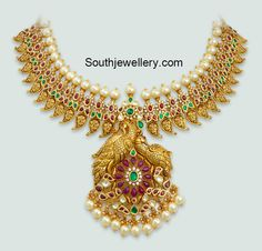 Indian jewellety designs-ruby mango necklace