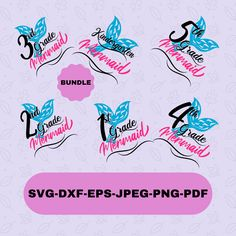 Back to School Mermaid Svg Designs Bundle for Cricut and Silhouette, Instant Download, Back to School T-shirt Svg Silhouette Designer Edition, Svg Files For Cricut, Cutting Files, Design Bundles, Back To School, Mermaid, Canvas, Digital, Shirt