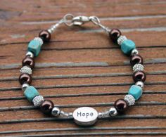 Hope Blue, Brown, and Silver beaded affirmation bracelet with saying, 6(13/16)""