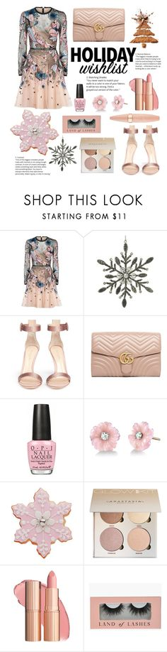 """""""#PolyPresents: Wish List"""" by piglopherz ❤ liked on Polyvore featuring Elie Saab, Parlane, Gianvito Rossi, Gucci, OPI, Irene Neuwirth, Maybelline, contestentry and polyPresents"""