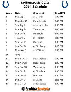 Printable Indianapolis Colts Schedule - 2014 Football Season