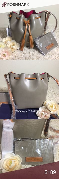"Dooney & Bourke Siena Serena Taupe Hot Pink Dooney & Bourke Siena Serena Crossbody; A brand new 100% authentic handbag from Dooney & Bourke; Original price: $228 + Tax; Size: Medium; Color: Taupe/Hot Pink; Material: Leather; Dimension: H 9"" x W 5.75"" x L 7.75""; Closure: Drawstring; Others:  Double sided leather, Adjustable strap, Feet, Pouch with zipper closure, Strap drop length 23""; Dust bag included Dooney & Bourke Bags Shoulder Bags"