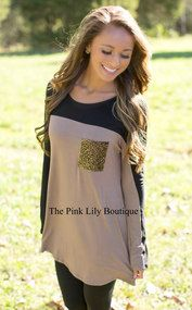 A Little Sparkle Mocha Blouse