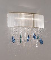 The Paralume wall light with white silk taffeta shade with stunning coloured Swarovski crystal elements. Crystal colours can be chosen to suit your decor