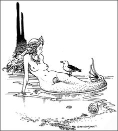 """Art by William Stout (1903) """"The Mermaid."""""""