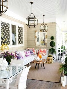 Covered porch - like the lights