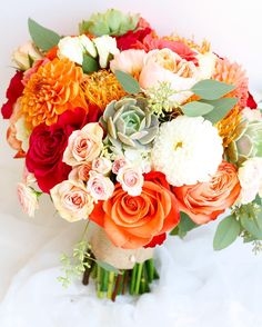 A summertime bouquet to warm your soul...oranges, succulents, and dahlias! | LILLA BELLO