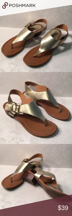 Tommy Hilfiger women's gold sandals size 9m Made in China no box all man made materials new never wornE36 Tommy Hilfiger Shoes Sandals