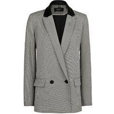 Houndstooth Suit Blazer (41.280 CLP) via Polyvore featuring outerwear, jackets, blazers, coats & jackets, mango, black, faux leather blazer, black jacket, black blazer jacket and fake leather jacket