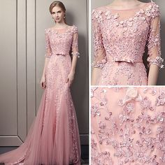 Stunning Blushing Pink Evening Dresses 2018 Trumpet / Mermaid Scoop Neck 1/2 Sleeves Appliques Lace Sequins Pearl Bow Sash Court Train Ruffle Backless Formal Dresses Pink Gowns, Pink Prom Dresses, Prom Dresses With Sleeves, Gala Dresses, Cute Dresses, Beautiful Dresses, Formal Dresses, Pink Evening Dress, Evening Dresses