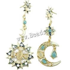 Asymmetric Earrings, Zinc Alloy, with Cats Eye, stainless steel post pin, gold color plated, enamel & with rhinestone, nickel, lead & cadmium free, 80x35mm,china wholesale jewelry beads