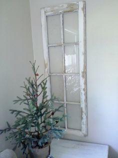 Vintage Shabby Chic Rustic 8 pane European Cottage Window Frame Winter White Christmas.