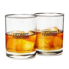 UNDER $50 :: OPTIMIST/PESSIMIST GLASSES - SET OF 2 | Glassware Tumblers | UncommonGoods $25.00 #elementsdesign  #HolidayGiftGuide www.elementsdesign.com