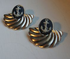 FOR SALE! FREE SHIPPING Nautical anchor shell earrings by LCBeads2wear on Etsy, $25.00