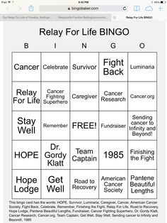 Relay For Life BINGO. Made with Relay For Life and American Cancer Society words. To use go to https://bingobaker.com/view/233677