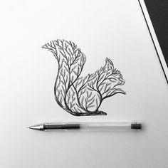Tattoo • Squirrel & Tree • Drawing •