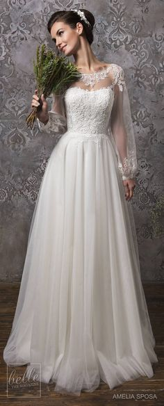 There is nothing that sends my heart aflutter like a line up of pretty wedding dresses. Amelia Sposa Wedding Dress Collection Fall 2018 has everything you dream of — lace sleeves, statement backs, a hint of color and bohemian-inspired pieces. Amelia Sposa Wedding Dress, Pretty Wedding Dresses, Beautiful Wedding Gowns, Designer Wedding Dresses, Bridal Dresses, Beautiful Dresses, Bridesmaid Dresses, Unconventional Wedding Dress, Wedding Gallery