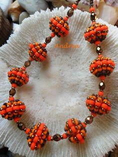 #beadwork Bandrea gyöngyei: Spinning Top III.: narancs