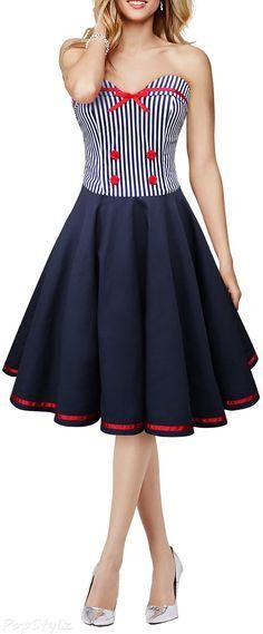 Black Butterfly 'Naomi' Vintage Marine 50's Dress 50s Dresses, Dresses For Teens, Pretty Dresses, Vintage Dresses, Vintage Outfits, Short Dresses, Vintage Fashion, Robes Vintage, Mein Style