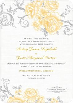 Antique Rose Scrolls - Signature White Textured Wedding Invitations in Burst or Watermelon | Lady Jae