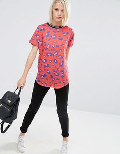 Image 4 ofASOS Top In Red Leopard Print With Tipped Rib