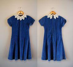 blue velvet dress. Beautiful!