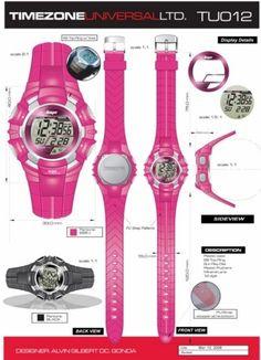 Time Zone Universal  LTD. Watches  designed by: Alvin Gilbert Dc. Gonda  abugonda@yahoo.com Design Development, Digital Watch, Behance, Concept, Graphic Design, Watches, Pink, Wristwatches, Clocks