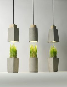 Concrete Planters & Pendant Lamps by Bentu Design —————————–… Concrete Light, Concrete Lamp, Concrete Planters, Concrete Furniture, Concrete Projects, Pallet Furniture, Furniture Decor, Beton Design, Concrete Design