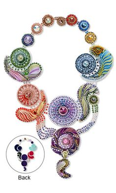 Jewelry Design - Bib-Style Necklace with Swarovski Crystal, Silk Fabric and Seed Beads - Fire Mountain Gems and Beads - shibori