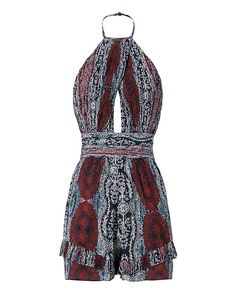 Exclusive for Intermix Provo Print Halter Romper: A flirty romper silhouette with pleats at waistline and hem cuffs. Keyhole front. Button closure at halter strap neckline. Open back. In rust print. Fabric: 100% silk Lining: 100% polyester Made in China. Model Measurements: Height 5'11; Waist 25 ; Bust ...