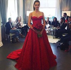 Stunning-Red-Lace-ballgown-wedding-dress-detachable-chapel-train-UK-tailor-made