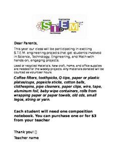 Stem Parent Letter Tpt Free Lessons Letter To Parents