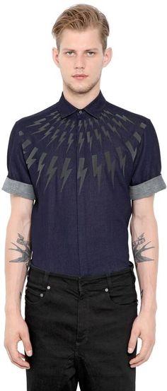 Neil Barrett Flashes Double Weave Cotton Shirt